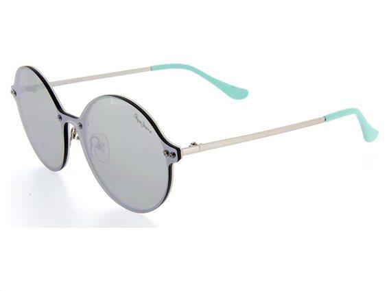 Pepe Jeans Unisex Γυαλιά Ηλίου με μεταλλικό Ασημί σκελετό, Ασημί Φακό, Εφέ Καθρέφτη και Θήκη