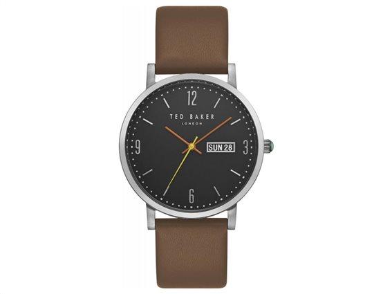 Ted Baker Ανδρικό ρολόι χειρός 40mm και Δερμάτινο καφέ λουράκι, Grant TE15196010