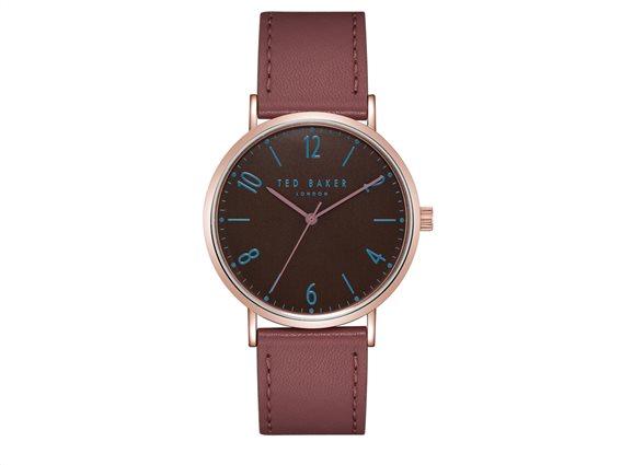 Ted Baker Ανδρικό ρολόι χειρός 40mm και Δερμάτινο Μπορντό λουράκι, Hank, TE50276003