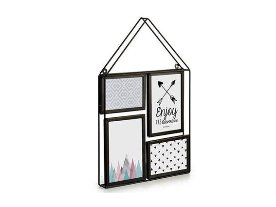 Μεταλλική Πολυκορνίζα σε σχήμα σπιτιού για 2 Φωτογραφίες, 30x3.3x45.3cm, Gift Decor