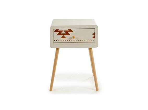 Ξύλινο Έπιπλο Οργανωτής Γενικής Χρήσης με 1 Συρτάρι σε Ethnic στυλ, 30x45x57cm, Gift Decor