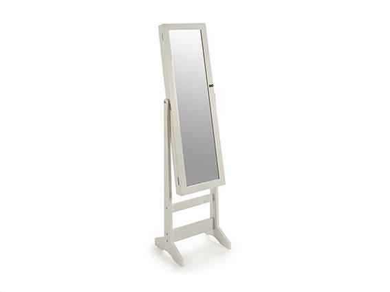 Gift Decor Κοσμηματοθήκη Μπιζουτιέρα έπιπλο με Ολόσωμο καθρέφτη με Βάση 30x34x137cm