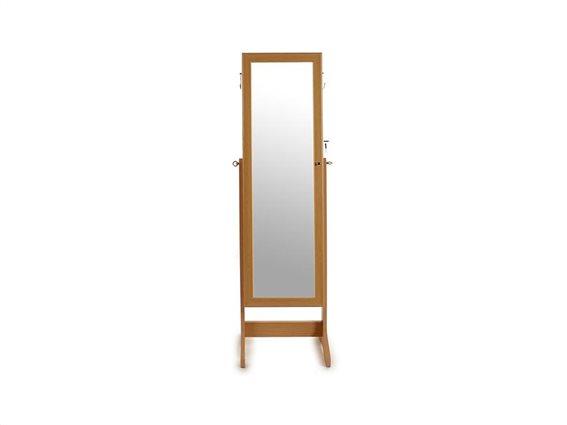 Κοσμηματοθήκη Μπιζουτιέρα με Ολόσωμο καθρέφτη με Ξύλινη Βάση σε Καφέ χρώμα, 41x37x147cm, Gift Decor