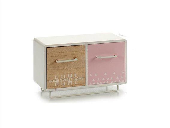 Ξύλινη Σύνθεση Οργανωτής με 2 συρτάρια σε γήινες αποχρώσεις, 12x22x13.5cm, Gift Decor
