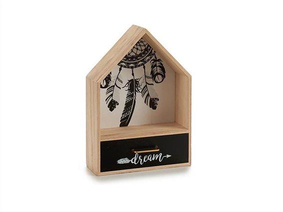Ξύλινη Σύνθεση Οργανωτής με 1 συρτάρι με θέμα Ονειροπαγίδα, 7.5x20x28cm, Gift Decor