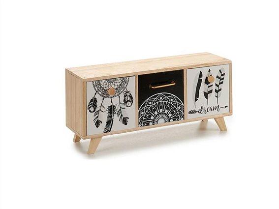 Ξύλινη Οριζόντια Σύνθεση Οργανωτής με 3 συρτάρια ιδανικό για μικροαντικείμενα, Gift Decor