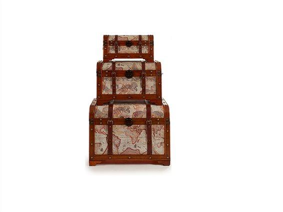 Σετ Ξύλινα Διακοσμητικά Vintage Κουτιά Αποθήκευσης 3 τεμ. 45x72x52cm, Gift Decor