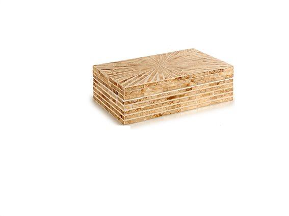 Ψηφιδωτό κουτί αποθήκευσης και φύλαξης αντικειμένων 15,5x25x7 cm σε μπεζ χρυσές αποχρώσεις