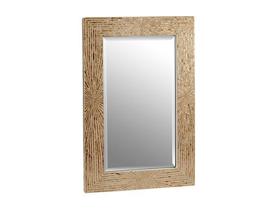 Ψηφιδωτός διακοσμητικός καθρέφτης σε Ορθογώνιο σχήμα 61x3x90 cm σε μπεζ Χρυσές αποχρώσεις
