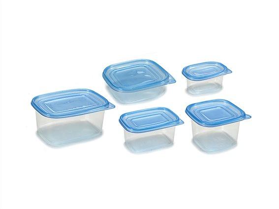 Σετ Φαγητοδοχεία 15 τεμαχίων Δοχεία φαγητού σε 5 μεγέθη με Μπλε καπάκι