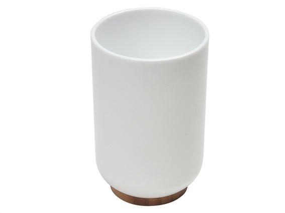 Πλαστικό Δοχείο Μπάνιου για Οδοντόβουρτσες με ξύλινη βάση από Bamboo, σε Λευκό χρώμα