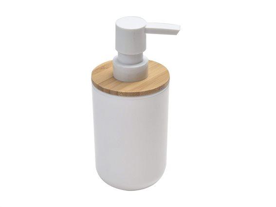 Διανεμητής σαπουνιού Δοχείο για κρεμοσάπουνο με αντλία σε Λευκό χρώμα με Bamboo λεπτομέρειες