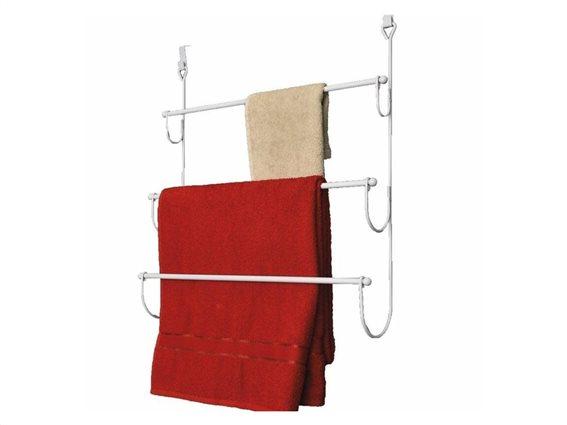 Μεταλλική κρεμάστρα Πόρτας μπάνιου για πετσέτες, 3 θέσεων σε λευκό χρώμα 48x17,7x54cm