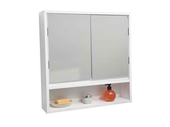 Επιτοίχιο Ντουλάπι Μπάνιου MDF με ενσωματωμένο καθρέφτη για τον τοίχο,  διαστάσεων 56.13x12.7x57.91m