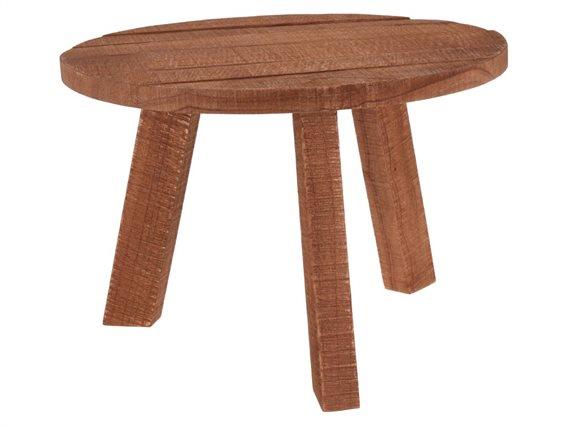 Μοντέρνο Ξύλινο Στρογγυλό Τραπεζάκι με Τρίποδη Βάση, 60x42cm, Coffee Table Teak
