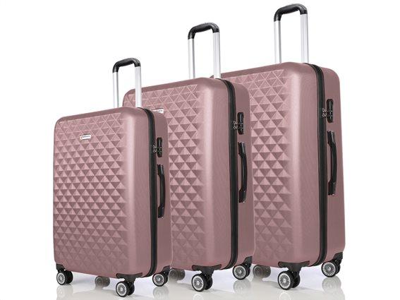Hoffmanns Σετ 3 Βαλίτσες Ταξιδιού ABS, Τηλεσκοπικό Χερούλι, Ροδάκια Κλείδωμα Ασφ. σε Ροζ Χρυσό Χρώμα