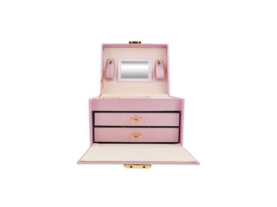 Κοσμηματοθήκη Μπιζουτιέρα σε Ροζ χρώμα με καθρεφτάκι, κλειδί και συρτάρια, 17.5x13.8x13.5cm