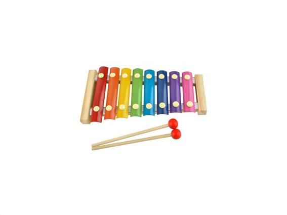 Παιδικό Ξύλινο Ξυλόφωνο με 8 μεταλλικές πλάκες νότες για εκμάθηση τόνων και μουσικής