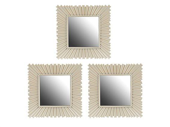 Σετ επιτοίχιοι Καθρέπτες 3 τεμαχίων, Τετράγωνοι, 24,5 x 24,5 x 1.5 cm, σε Λευκό Χρώμα, Gift Decor