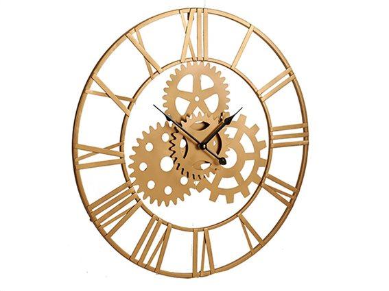 Μεταλλικό Ρολόι Τοίχου με Γρανάζια, Διαμέτρου 60 cm, Gift Decor