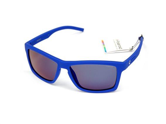 Polaroid Unisex Γυαλιά Ηλίου με Ορθογώνιο Φακό Καθρέπτη και προστασία UV 400, σε χρώμα Μπλε