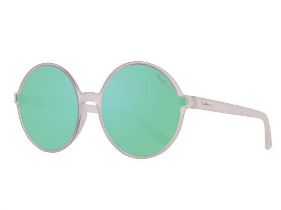 Pepe Jeans Γυναικεία Γυαλιά Ηλίου με Στρογγυλό Φακό Καθρέπτη, σε χρώμα Διάφανο