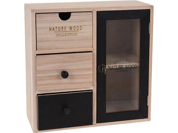 Ξύλινη Συρταριέρα με ντουλάπι, σε χρώμα καφέ-μαύρο, 28x12x28 cm, Nature Wood Collection