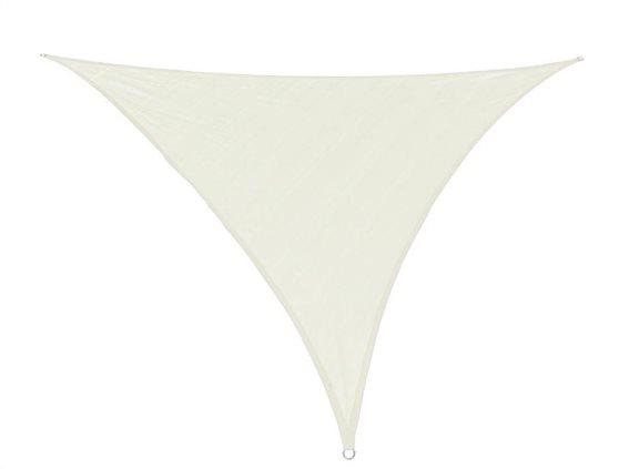Αντηλιακή Τριγωνική Τέντα Σκίαστρο, σε απαλό μπεζ χρώμα, διαστάσεις 3x3x3 μέτρα