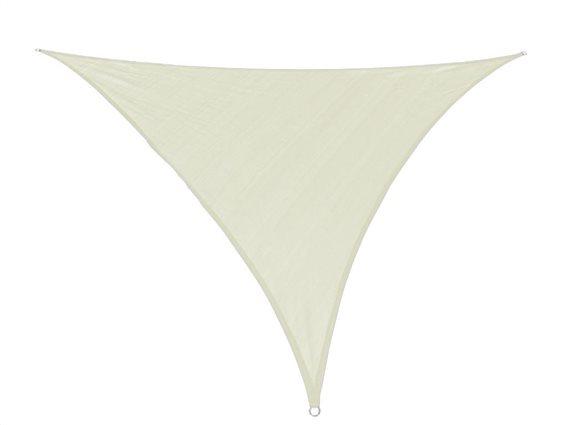 Αντηλιακή Τριγωνική Τέντα Σκίαστρο, σε μπεζ χρώμα, διαστάσεις 3.6x3.6x3.6 μέτρα