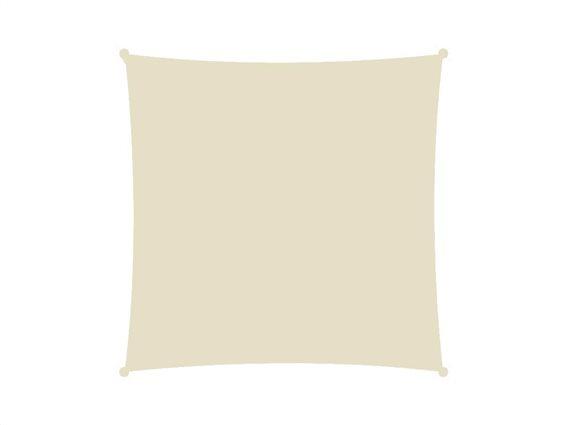 Αντηλιακή Τετράγωνη Τέντα Σκίαστρο, σε μπεζ χρώμα, διαστάσεις 3x3 μέτρα