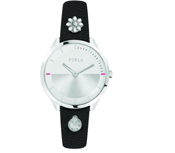 Furla Γυναικείο Ρολόι Χειρός 31mm με δερμάτινο λουράκι σε μαύρο χρώμα, Pin R4251112507