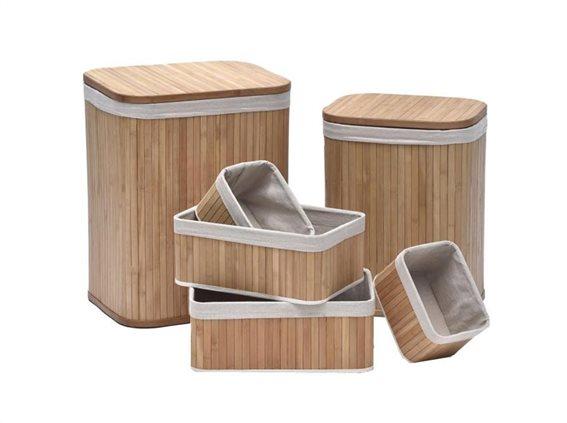 Bamboo Σετ 6 Τεμαχίων Καλάθι Απλύτων, με 4 διαφορετικές , στο χρώμα του ξύλου