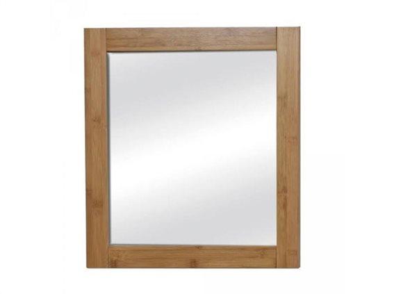 Τετράγωνος Διακοσμητικός Καθρέφτης από MDF ξύλο, σε καφέ χρώμα τύπου bamboo,  48x1.5x21.8 cm, ΜΑΗΕ
