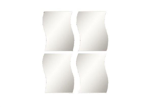 Σετ Καθρέπτες Μπάνιου 4 Τεμαχίων, με κυματισμό,  28x30 cm