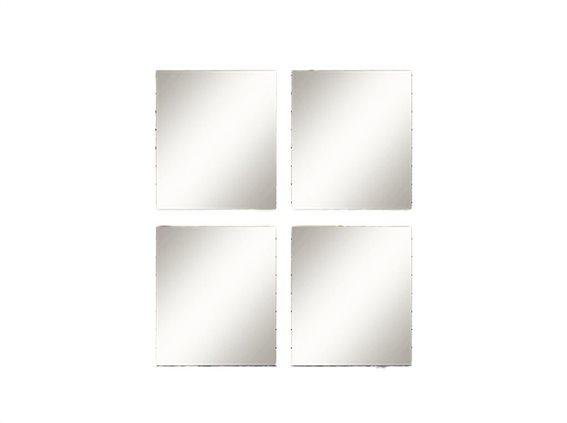 Σετ  Επιτοίχιοι Τετράγωνοι Καθρέπτες 4 Τεμαχίων, με  30x30 cm