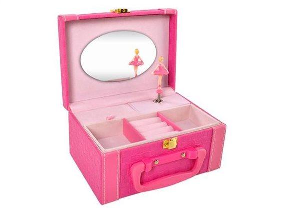 Μουσικό Κουτί Μπιζουτιέρα με θήκες για κοσμήματα, σε φούξια χρώμα 18x12x9 cm