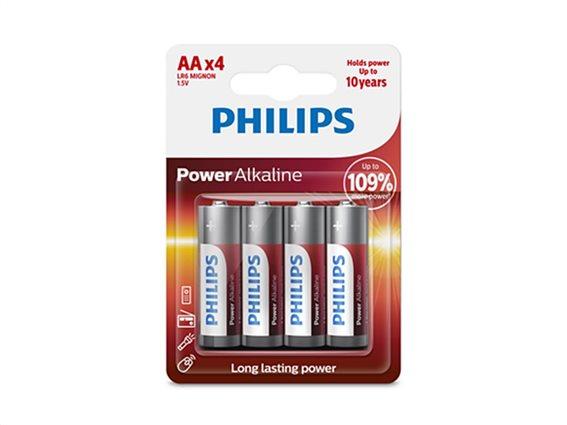 Philips αλκαλικές μπαταρίες 4 τεμαχίων, LR6/AA, Power Alkaline LR6P4B/05