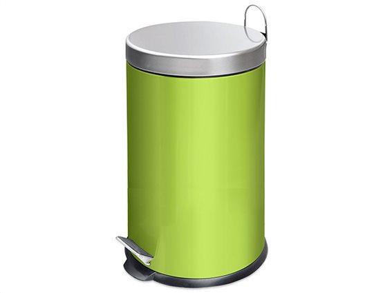 Luigi Ferrero κάδος απορριμμάτων 12 λίτρα με πεντάλ, από χάλυβα σε πράσινο χρώμα, BC530156