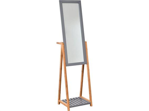 Bamboo Ξύλινος Ολόσωμος Καθρέφτης Δαπέδου με ράφι,  40x35x156 cm, Gris/Bambou