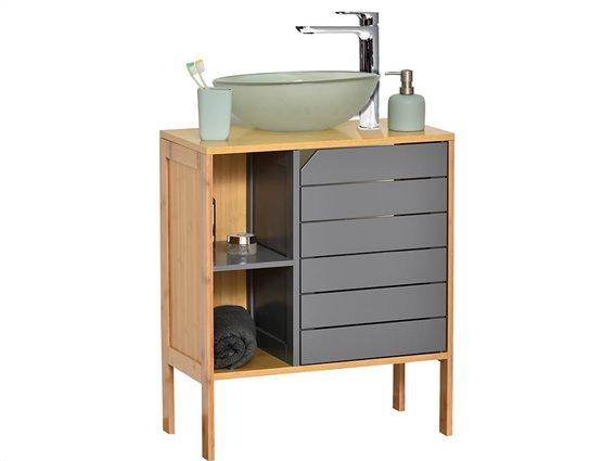 Bamboo/MDF Ξύλινο Έπιπλο Μπάνιου με ένα ντουλάπι, ένα ράφι και 2 θέσεις,  60x30x70 cm, Gris/Bambou