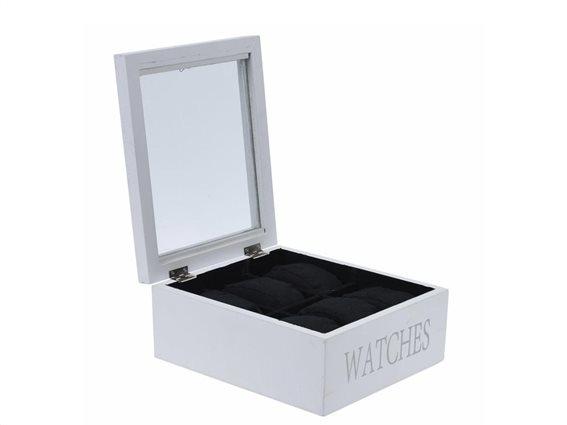 Ξύλινη θήκη ρολογιών και Κοσμημάτων με 6 θέσεις, βελούδινη εσωτερική επένδυση, σε λευκό χρώμα