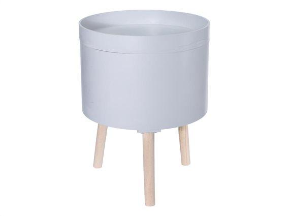 Ξύλινο Στρογγυλό τραπεζάκι σαλονιού Side Table διαμέτρου 35 cm σε Γκρι χρώμα