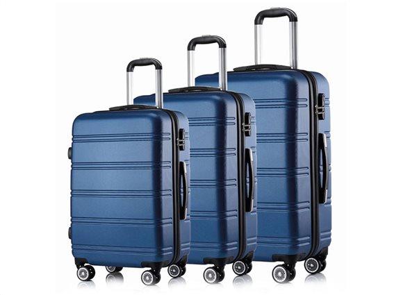 Hoffmanns Σετ 3 Βαλίτσες Ταξιδιού ABS, Τηλεσκοπικό Χερούλι, Ροδάκια Κλείδωμα Ασφ. σε Μπλε Χρώμα