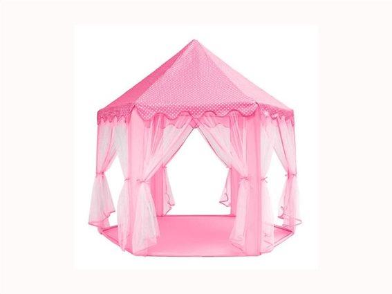 Στρογγυλή Παιδική σκηνή σε σχέδιο Κάστρο Πριγκίπισσας, σε Ροζ χρώμα, 135x140 cm