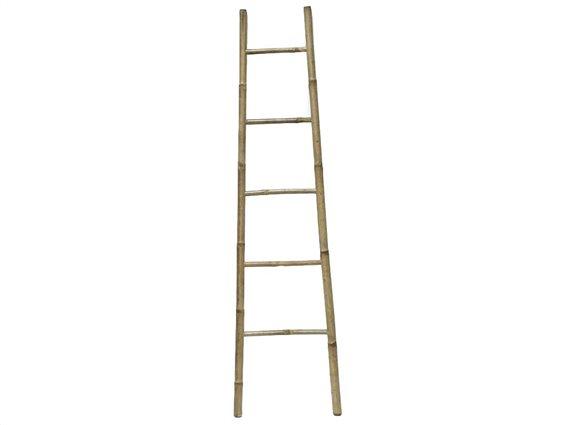 Bamboo Ξύλινη Κρεμάστρα Σκάλα για Πετσέτες Μπάνιου με 5 ράγες σε μικρό μέγεθος,  40x150 cm