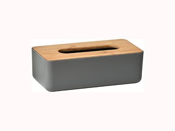 Θήκη για χαρτομάντιλα από Ξύλο Bamboo με ξύλινo καπάκι και πλαστική βάση