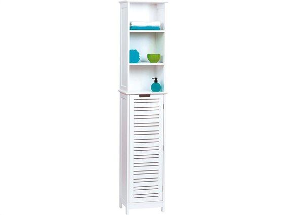 Ξύλινο Έπιπλο Μπάνιου σε λευκό χρώμα με 1 ντουλάπι και 3 ράφια,  35x23x173 cm, Miami