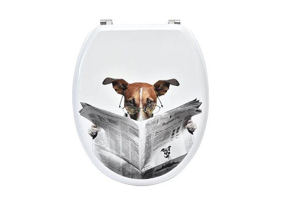 Πλαστικό Καπάκι λεκάνης μπάνιου σε Λευκό χρώμα με σχέδιο Readind dog, 45.6x37.2x5cm