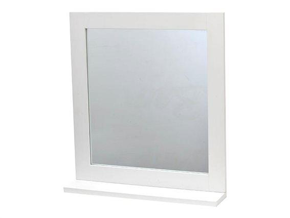 Τετράγωνος Καθρέφτης Μπάνιου με σκελετό MDF ξύλου και ράφι,  53x10x48 cm, Miami