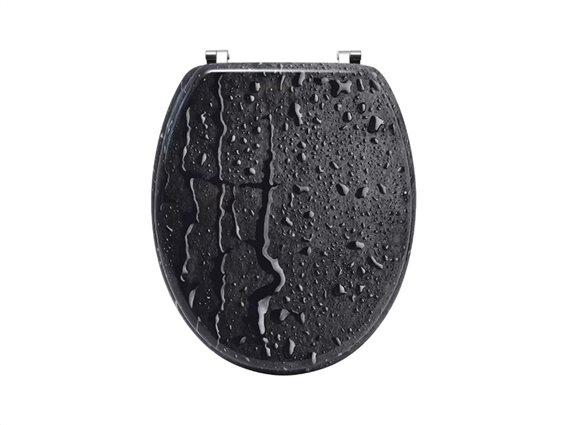 Πλαστικό Καπάκι λεκάνης μπάνιου σε Μαύρο χρώμα με σχέδιο σταγόνες, 45.6x37.2x5cm